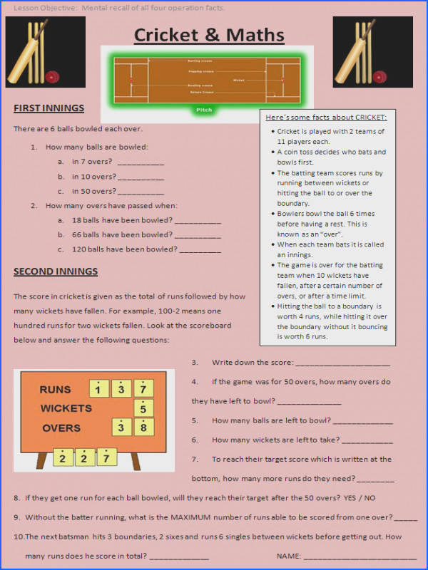 Cricket maths worksheet Bring Ashes fever to your maths lessons with this cricket themed activity