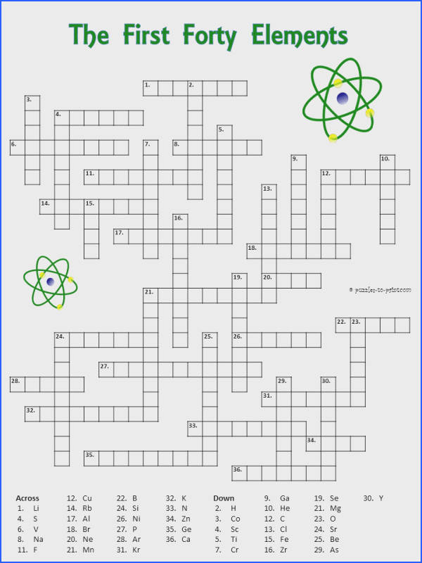 Crossword puzzle with the first forty elements The clues are the symbols EASY for Teaching ChemistryChemistry WorksheetsChemistry