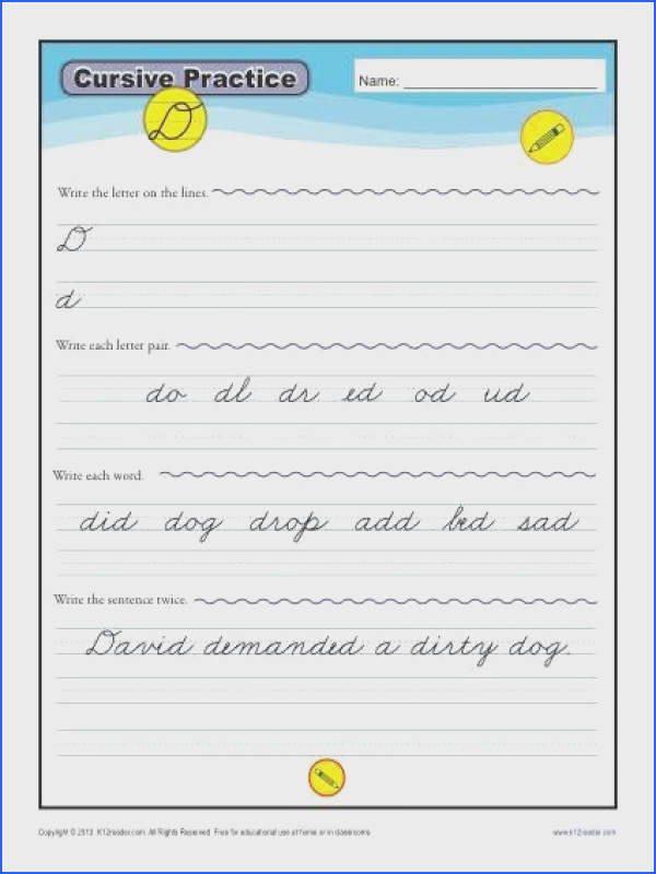 Cursive D Letter D Worksheets for Handwriting Practice