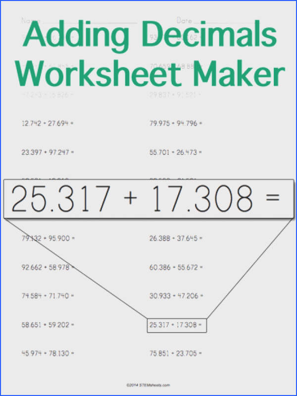 Customizable and Printable Adding Decimals Worksheet Horizontal Format