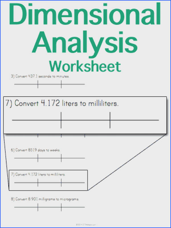 Customizable and Printable Dimensional Analysis Worksheet