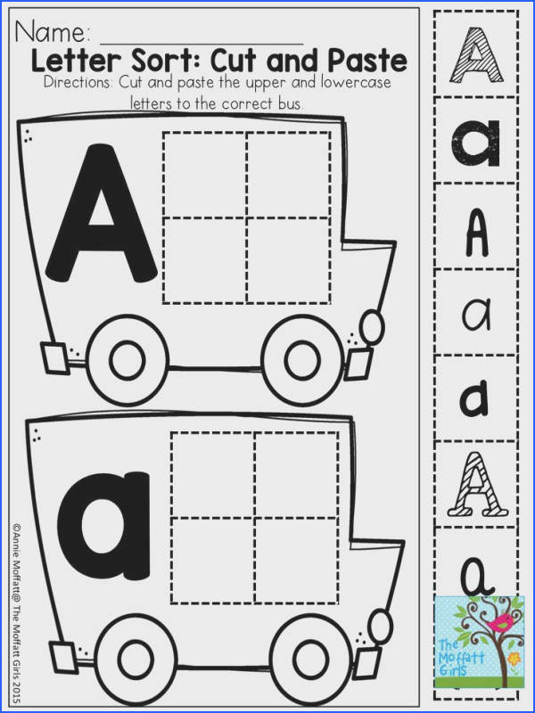 LETTER SORT and TONS of other great printable Great for building fine motor skills and identifying letters in a variety of printed and published styles