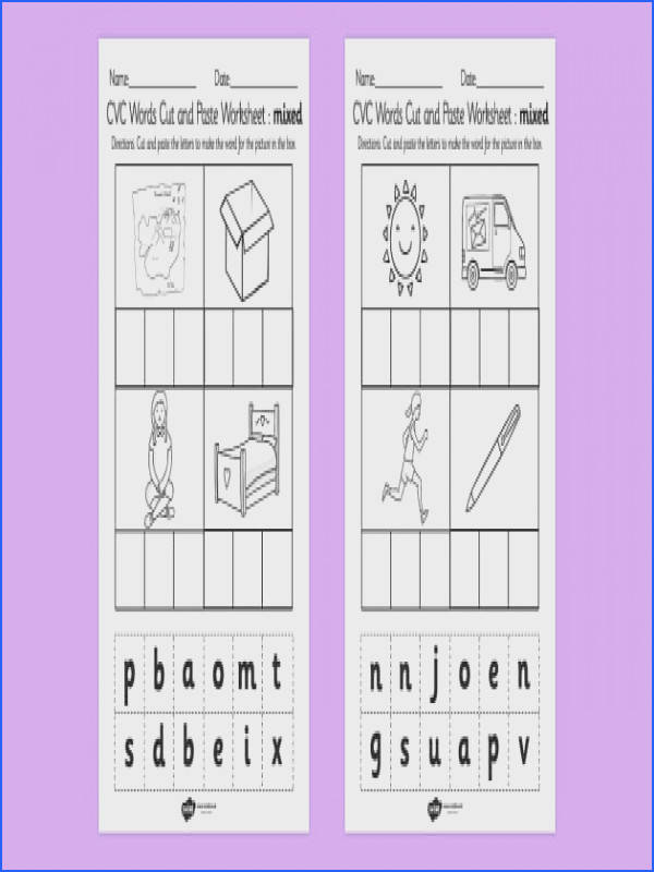 CVC Words Cut and Paste Worksheet Activity Sheets Mixed CVC word cut
