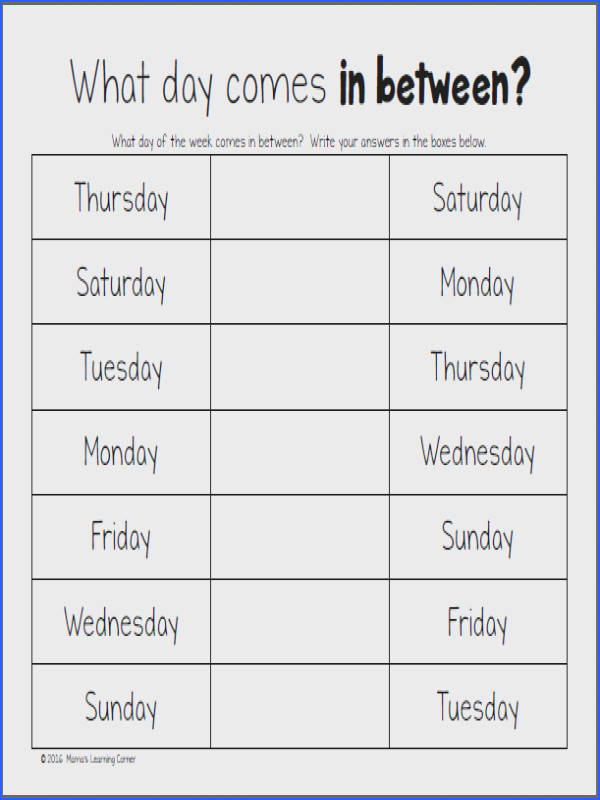 Days The Week Worksheets Mamas Learning Corner Color By Number Preschool Days Best Free Printable Worksheets