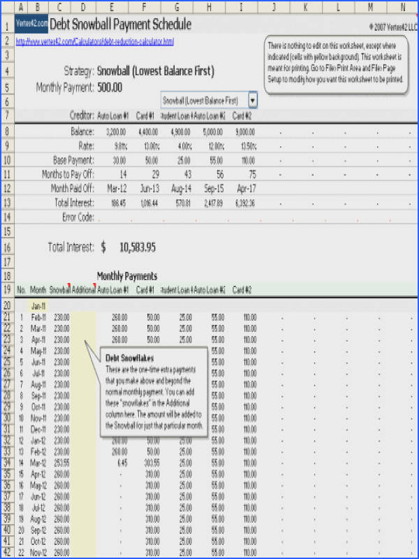 Debt Worksheet Excel Worksheets for all Download and Worksheets