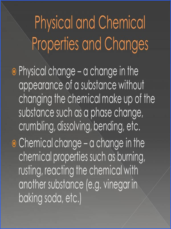 Physical change – a change in the appearance of a substance without changing the chemical