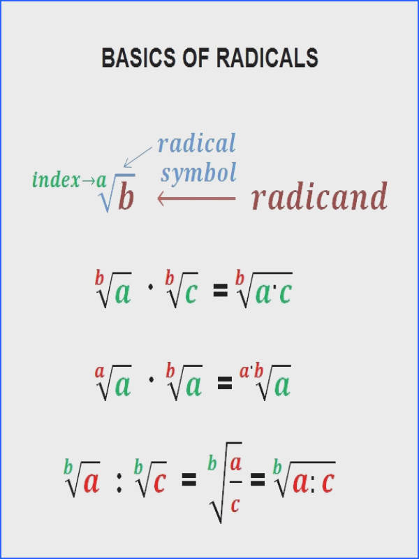 Radicals – Basic math operations simplification equations exponents