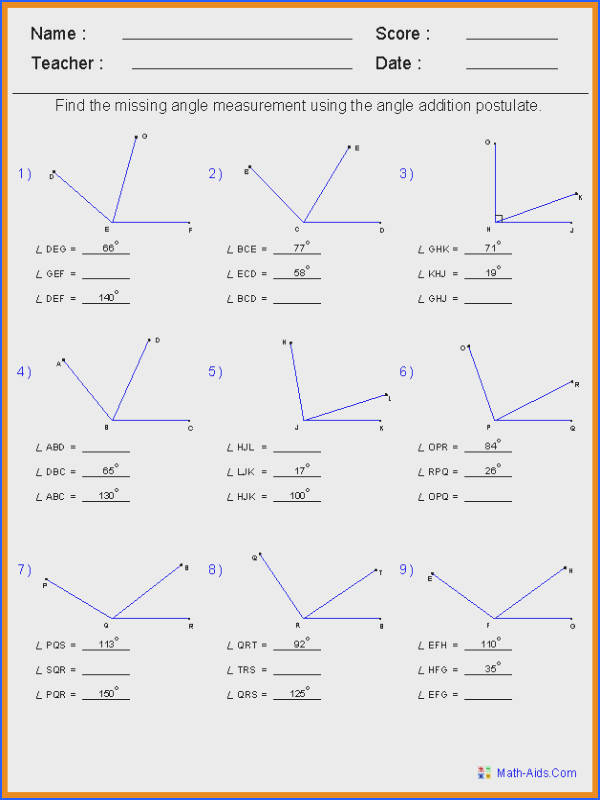 Angle Addition Postulate Worksheet Checks Worksheet