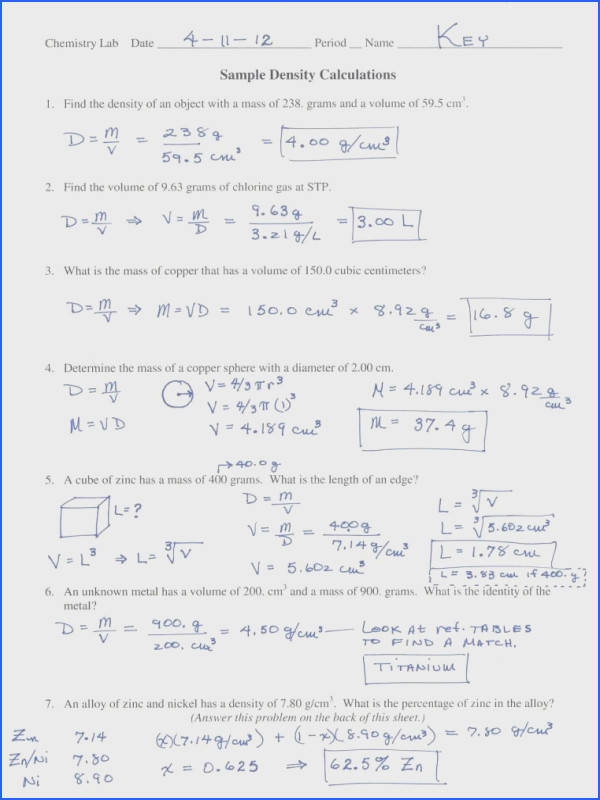 mon Worksheets density worksheet chemistry Density Problems