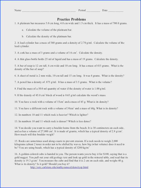 Density Worksheet With Answers calculate density worksheet with answers to her with density worksheet with answer key 9th also density worksheets with