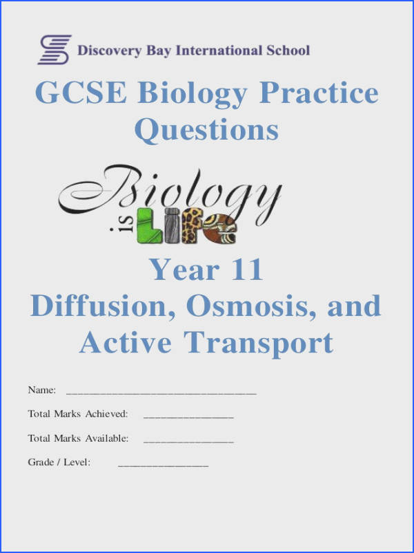 GCSE Biology Practice Questions Year 11 Diffusion Osmosis and Active Transport Name