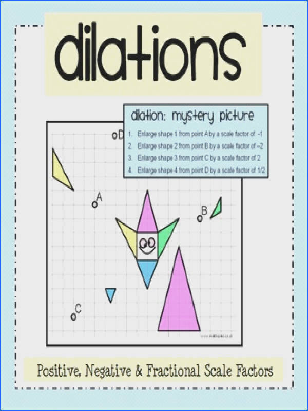 Dilation Mystery Picture Activity & Worksheet Pack
