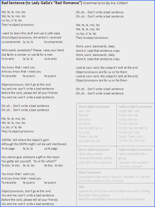 Direct Object Pronouns Song Lyrics