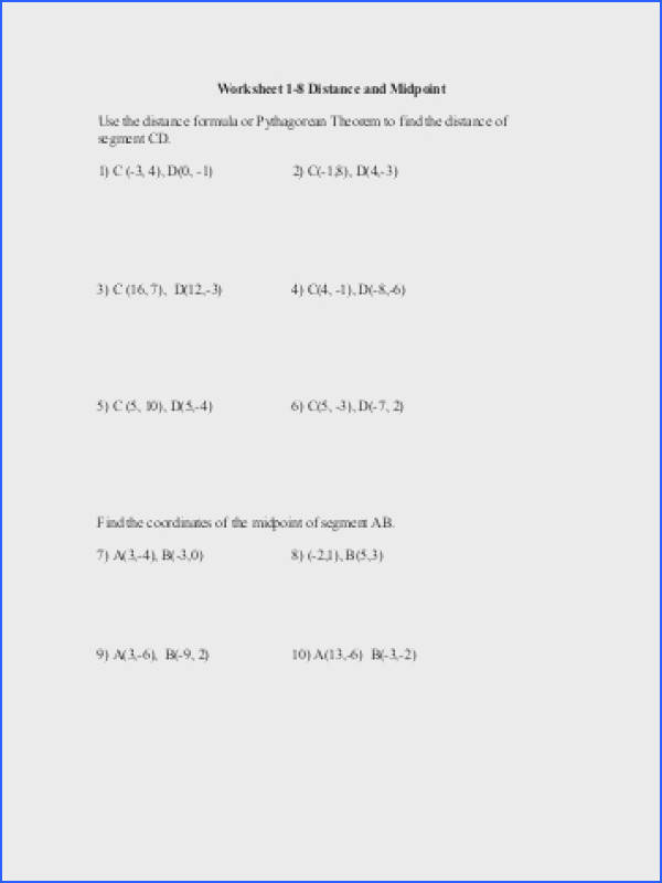 Worksheet 1 8 Distance and Midpoint Use the distance formula or