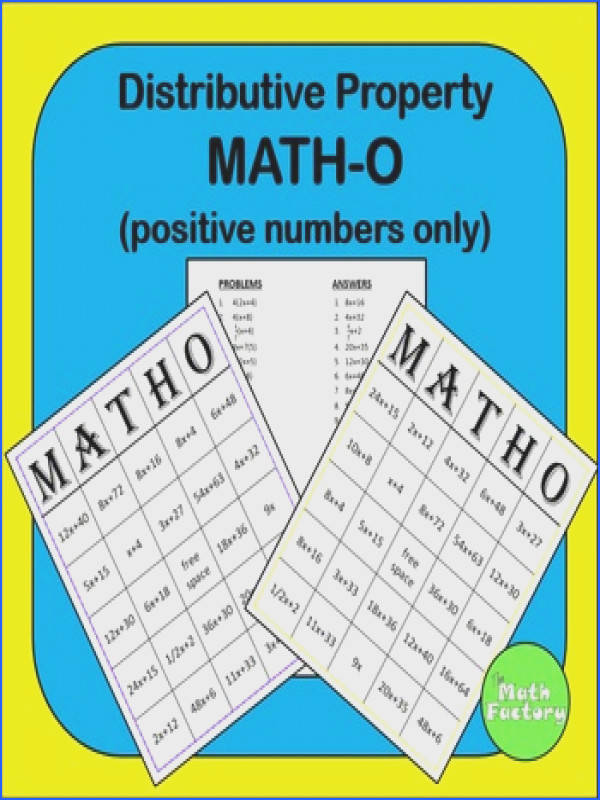 Distributive Property BINGO Distributive Property made fun This BINGO game contains ONLY POSITIVE PROBLEMS