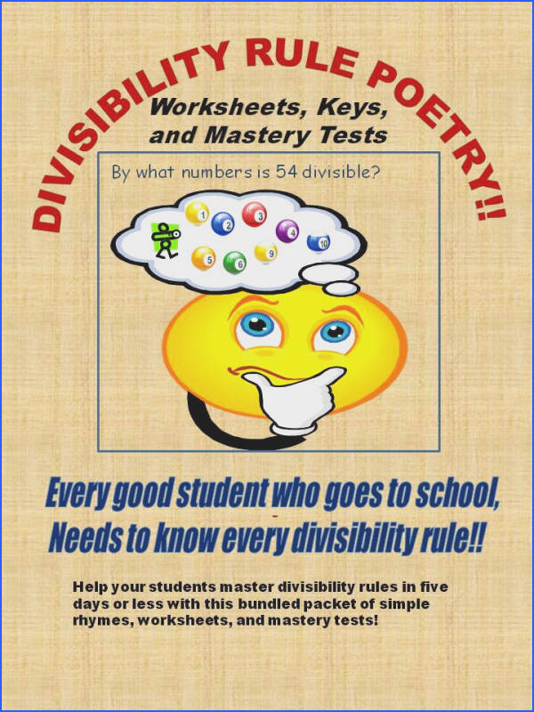 Divisibility Rules Poetry Worksheets Keys and Mastery Tests