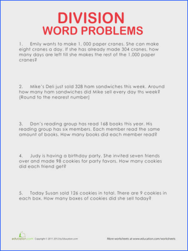 Fourth Grade Division Worksheets Division Word Problems Tons and tons of free grade specific worksheets
