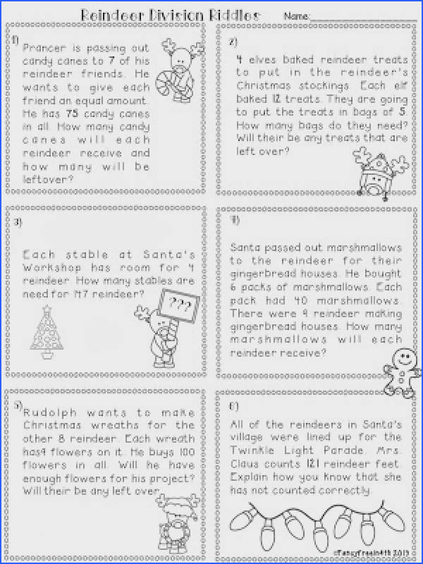 Division Word Problems Reindeer Remainder a festive division unit covering remainders word problems