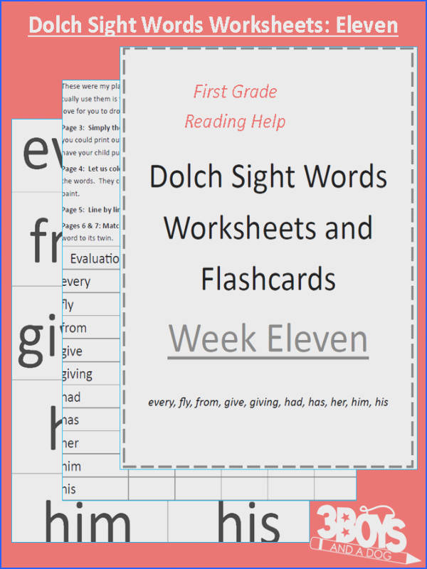 Dolch Sight Words Worksheets Week Eleven