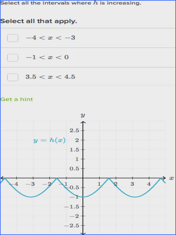 increasing decreasing intervals of functions