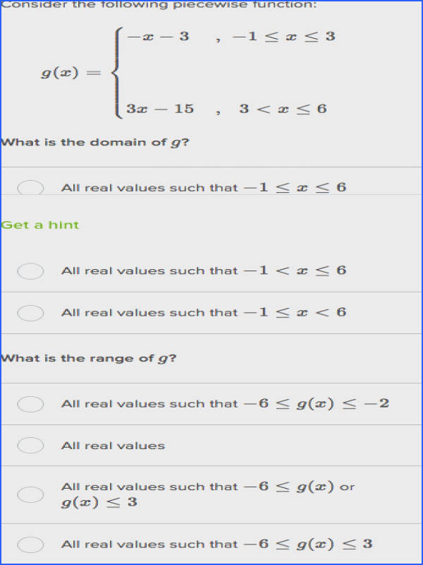 domain and range piecewise