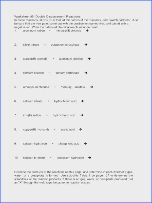 Single Replacement Reaction Worksheet Answers Mychaume Com