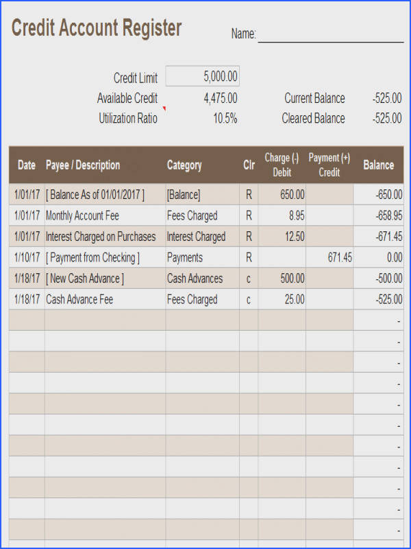 Download a free credit account register template for Excel to keep track of day to