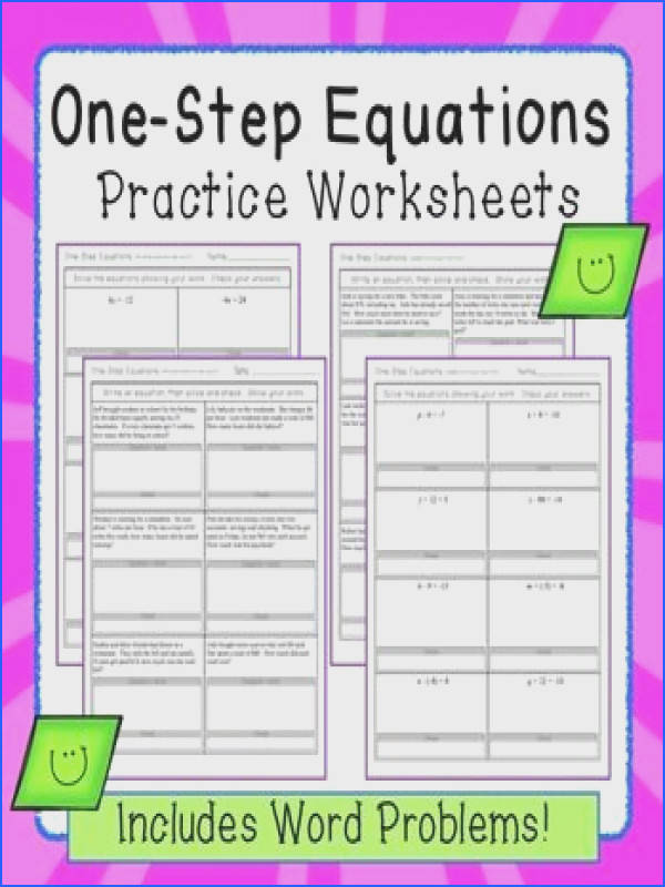 e Step Equations worksheets including word problems
