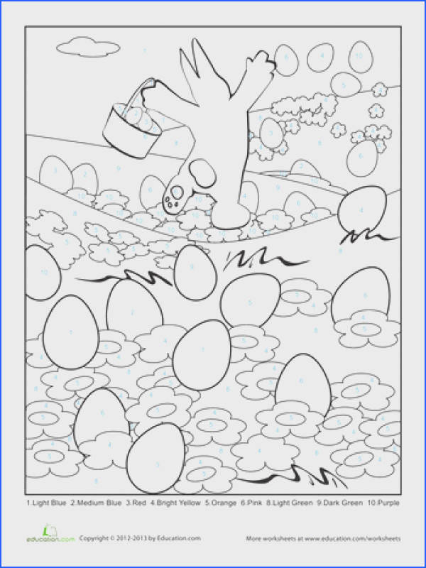 Easter Color By Number Page Easter WorksheetsKindergarten
