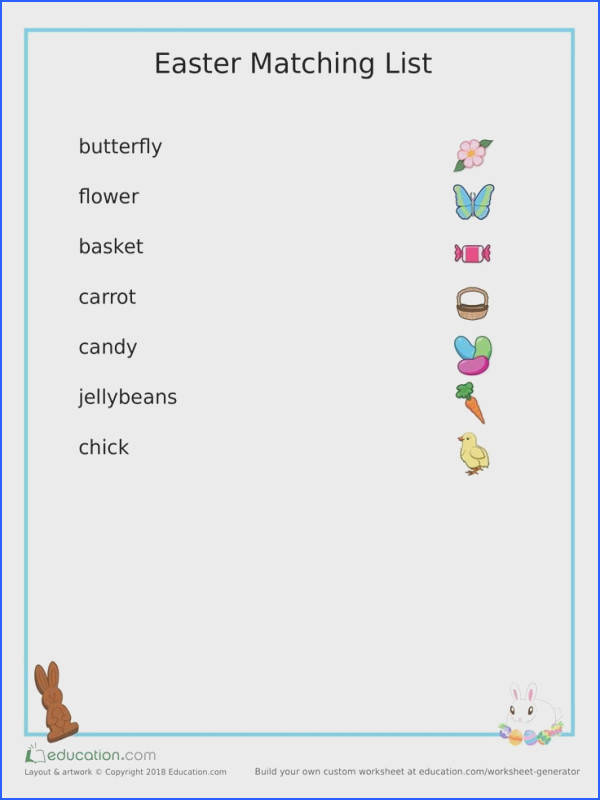 Easter Matching Worksheet Worksheet for Kids Image Below Www Education Com Worksheets