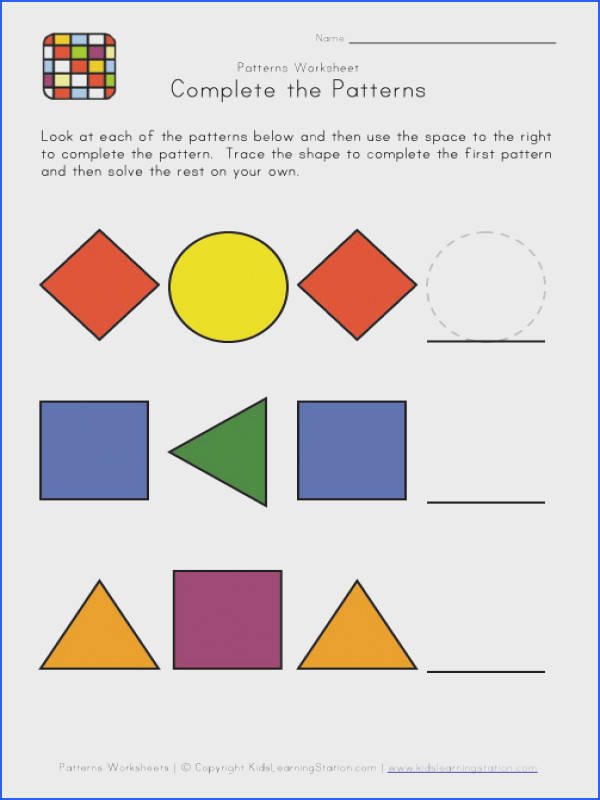 Easy Preschool Patterns Worksheet 1