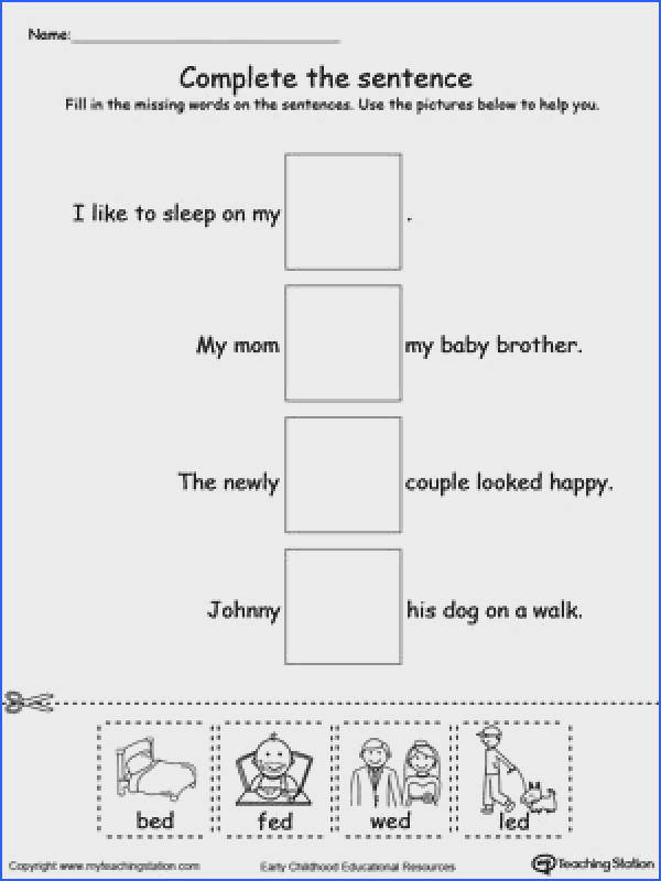 FREE ED Word Family plete the Sentence Worksheet Identify the missing words in