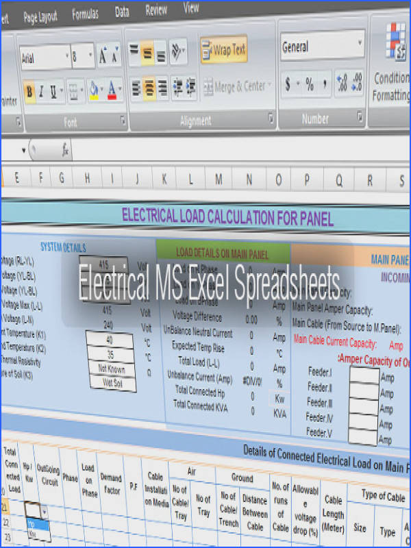 Electrical Tools MS Excel Spreadsheets