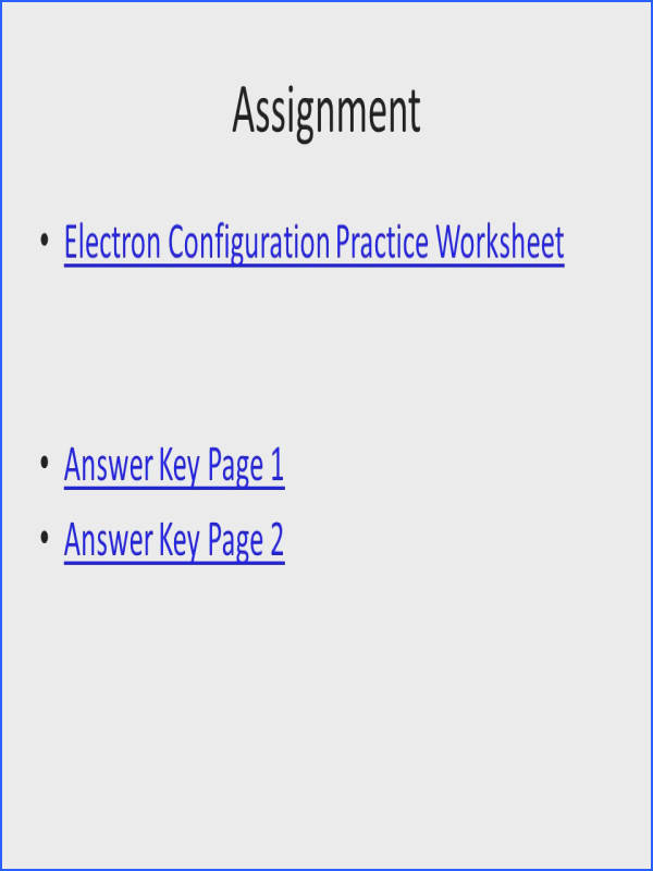 23 Assignment Electron Configuration Practice Worksheet Answer Key Page 1