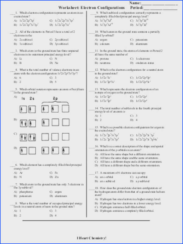 Electron Configuration Worksheet Everett munity College Explain your answer in terms of trends in the periodic
