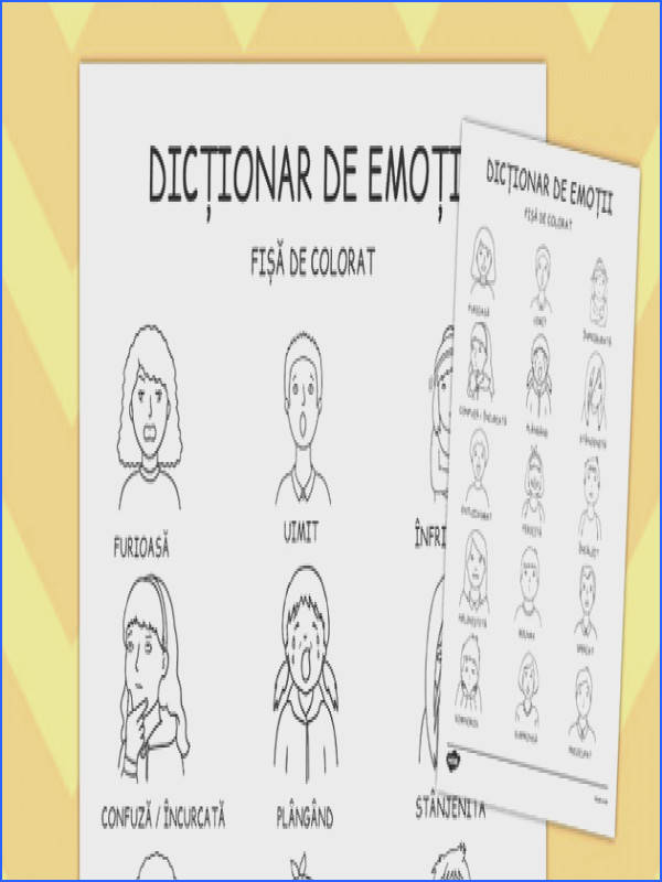 Emotions Dictionary Colouring Sheet Romanian