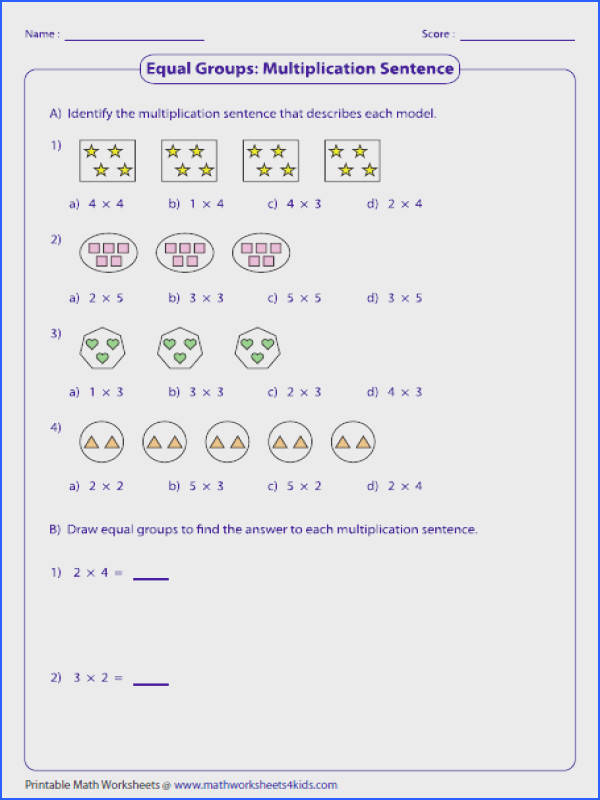 Ideas Collection Equal Groups Multiplication Worksheets With Additional Reference