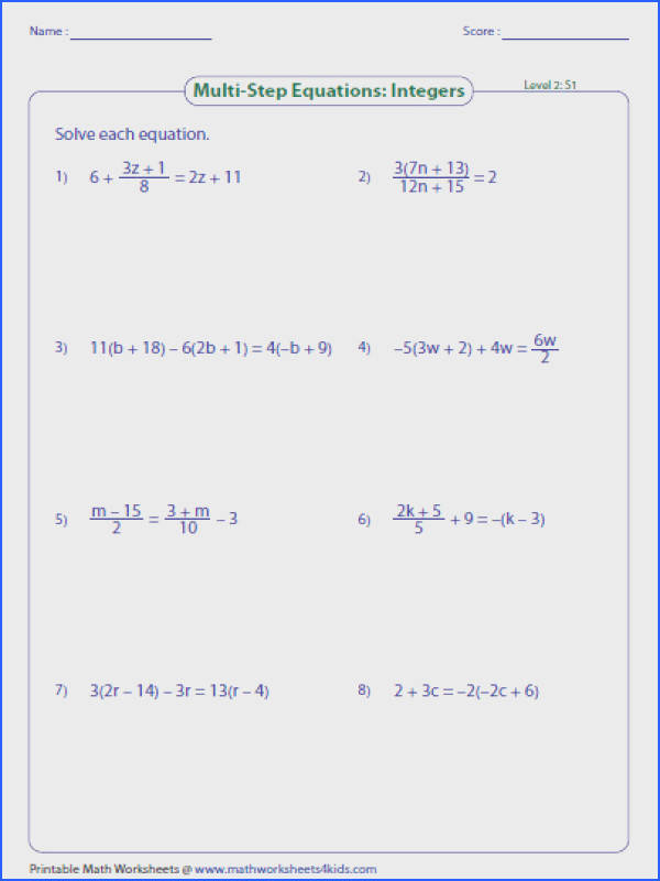integers level2 large Multi Step Equation Worksheets