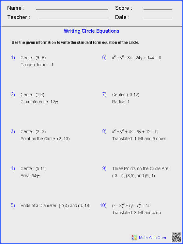 Writing Equation of Circles Worksheets