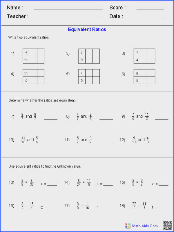 Middle school maths · Equivalent Ratios Worksheets