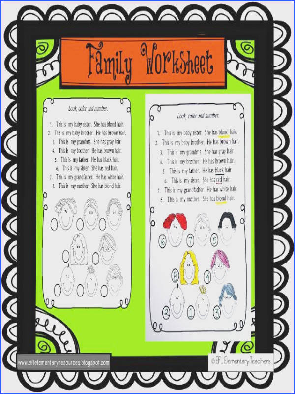 ESL Family Theme worksheet ESL Family Pinterest