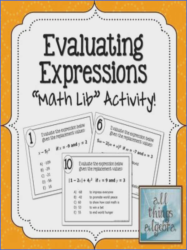 """Evaluating Expressions """"Math Lib"""" Activity super fun stations activity that the students LOVE"""