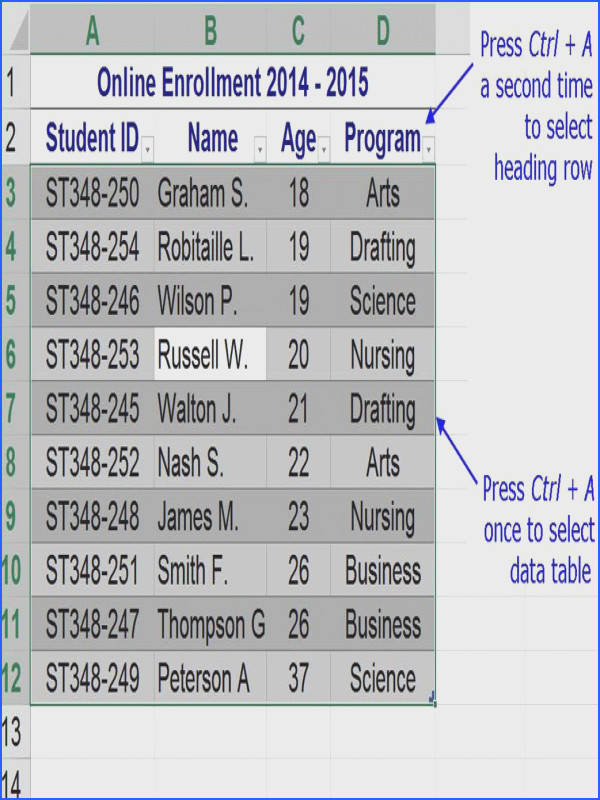 excel select data table keyboard shortcut 56a8f8825f9b58b7d0f6d40c 5aba66d c c7073d