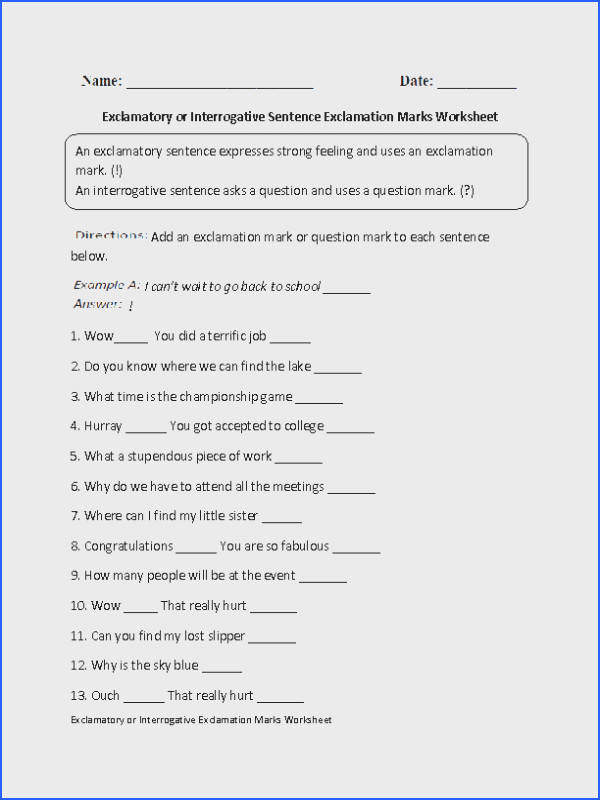 This exclamation marks worksheet directs the student to label each sentence as exclamatory or declarative