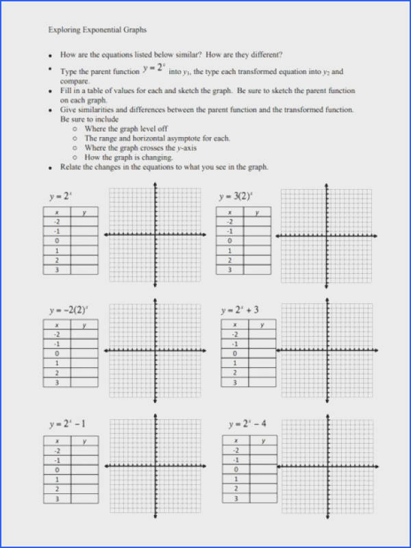 Exploring Exponential Graphs Worksheet for 9th 10th Grade