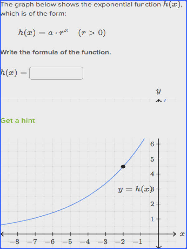 construct basic exponential functions from table or graph
