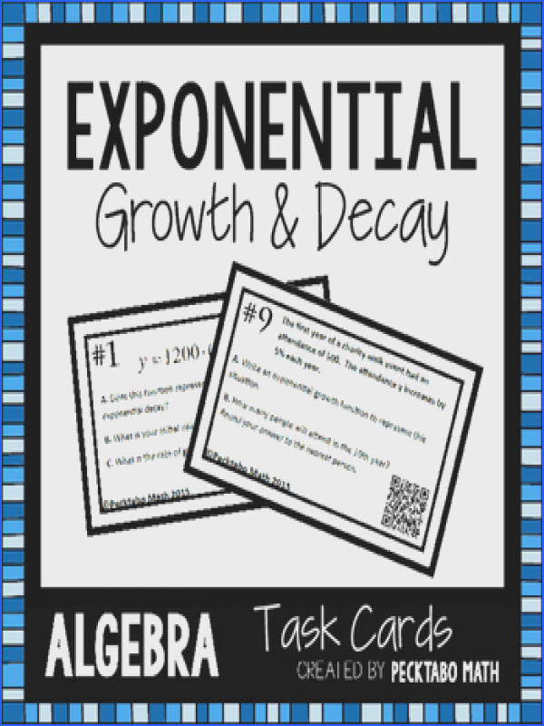 Exponential Growth an Decay ALGEBRA Task Cards with QR codes