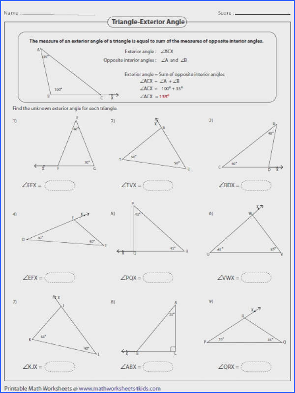 Bunch Ideas Worksheets Exterior Angles A Triangle Cool Triangle Interior Angles Worksheet