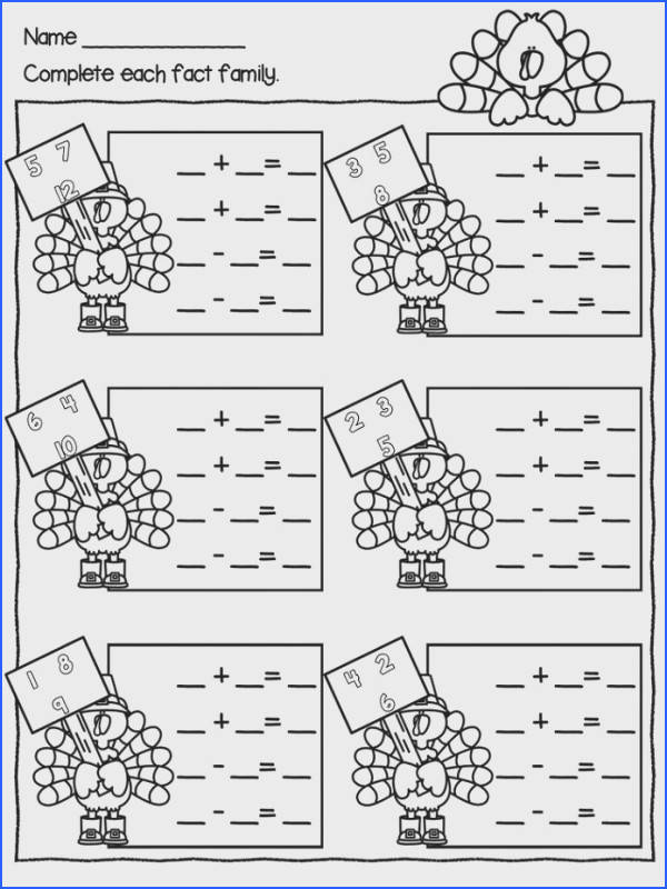 fact family worksheets for first grade simple