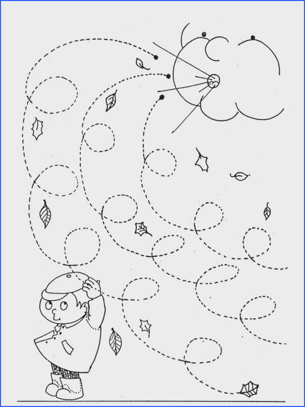 Fall Windy Day line worksheet for kids Curly lines